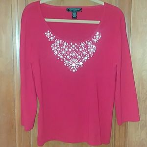 Red Beaded Sweater